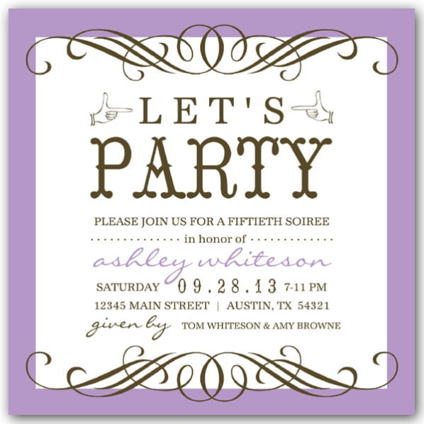 plain purple free printable 50th birthday invitations templates