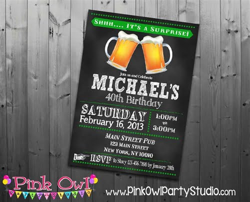 Beer Surprise 40th Birthday Party Invitations