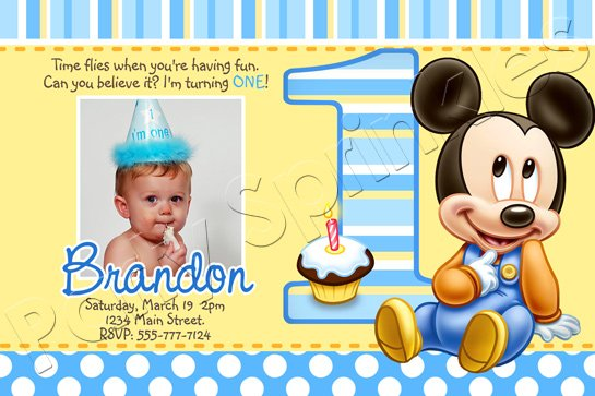 Baby Mickey First Birthday Invitations Drevio Invitations Design - Birthday invitation for baby