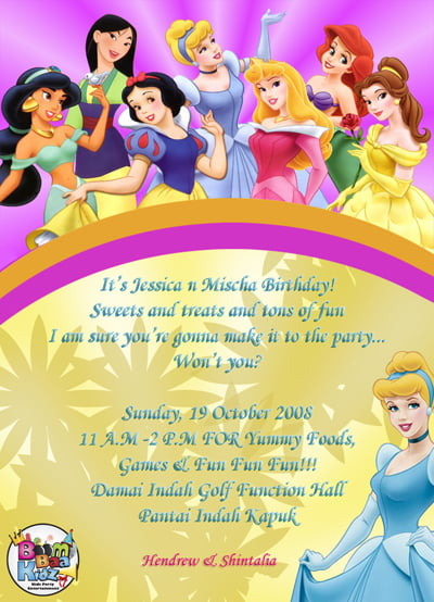 princesses kids birthday party invitations wording ideas
