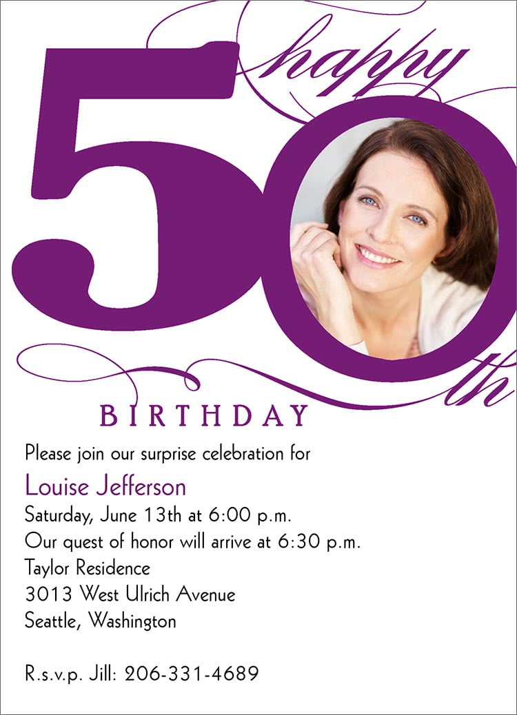 lady free printable 50th birthday invitations templates