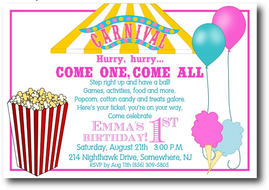 pop corn free birthday card invitations templates