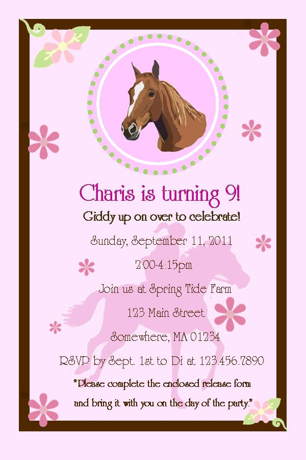 Horses 9 Years Old Birthday Invitations Wording