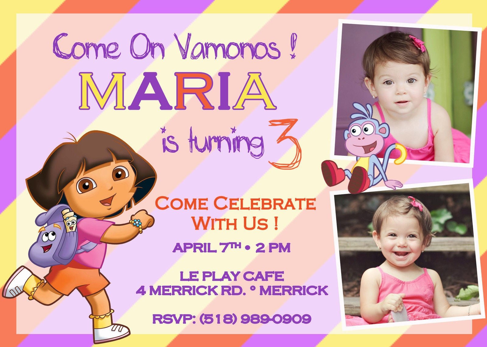 FREE Printable Dora the Explorer Birthday Party Invitations Design ...