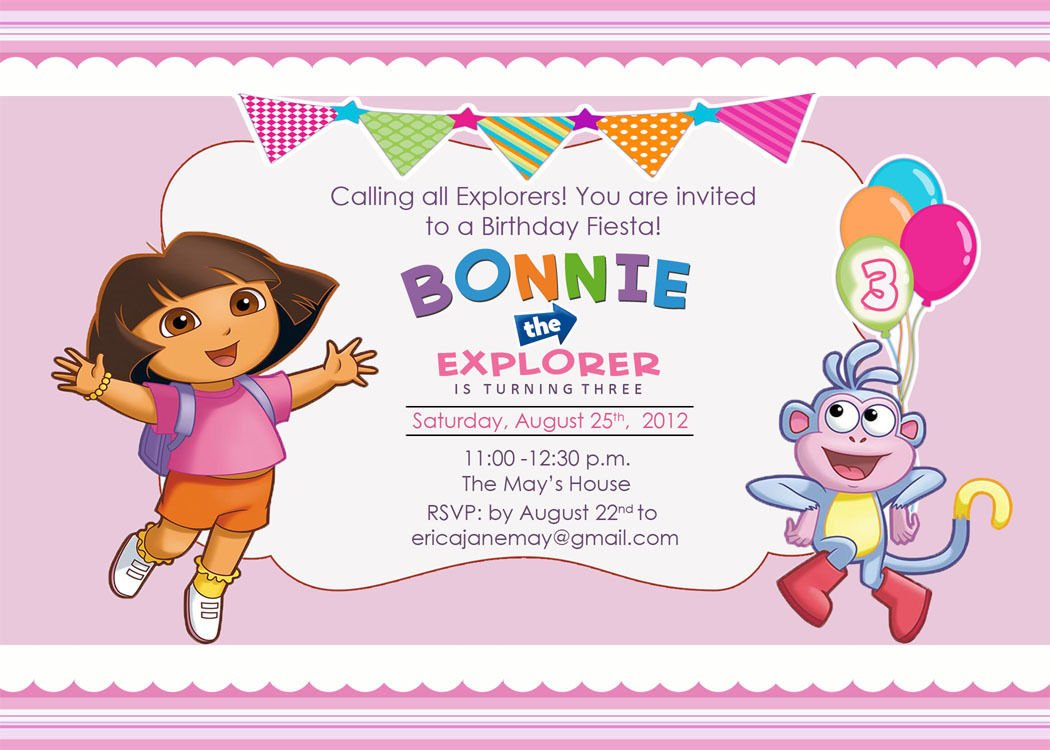 free printable dora the explorer birthday party invitations design, Birthday invitations