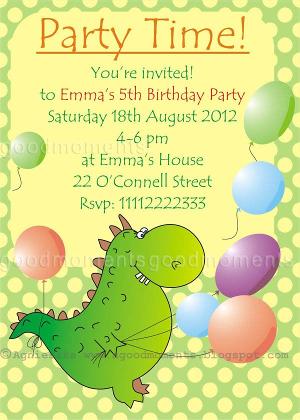 dinosaur kids birthday party invitations wording ideas