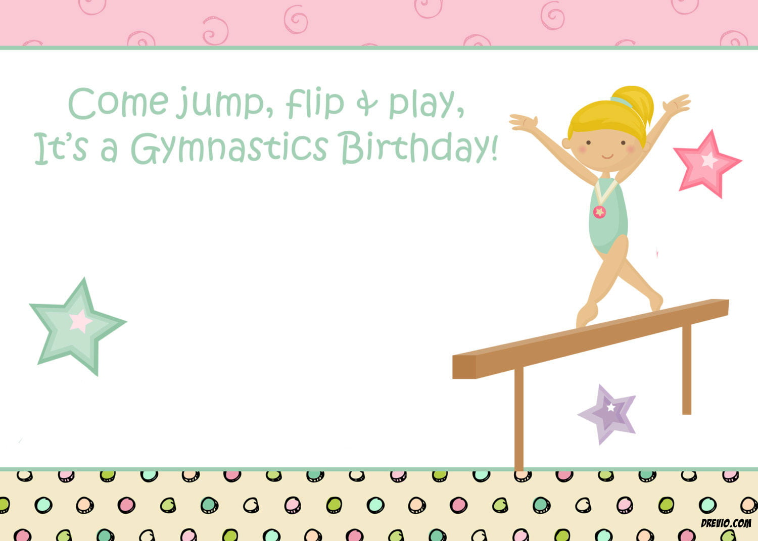 Free Printable Gymnastic Birthday Invitations – Updated! | Drevio ...