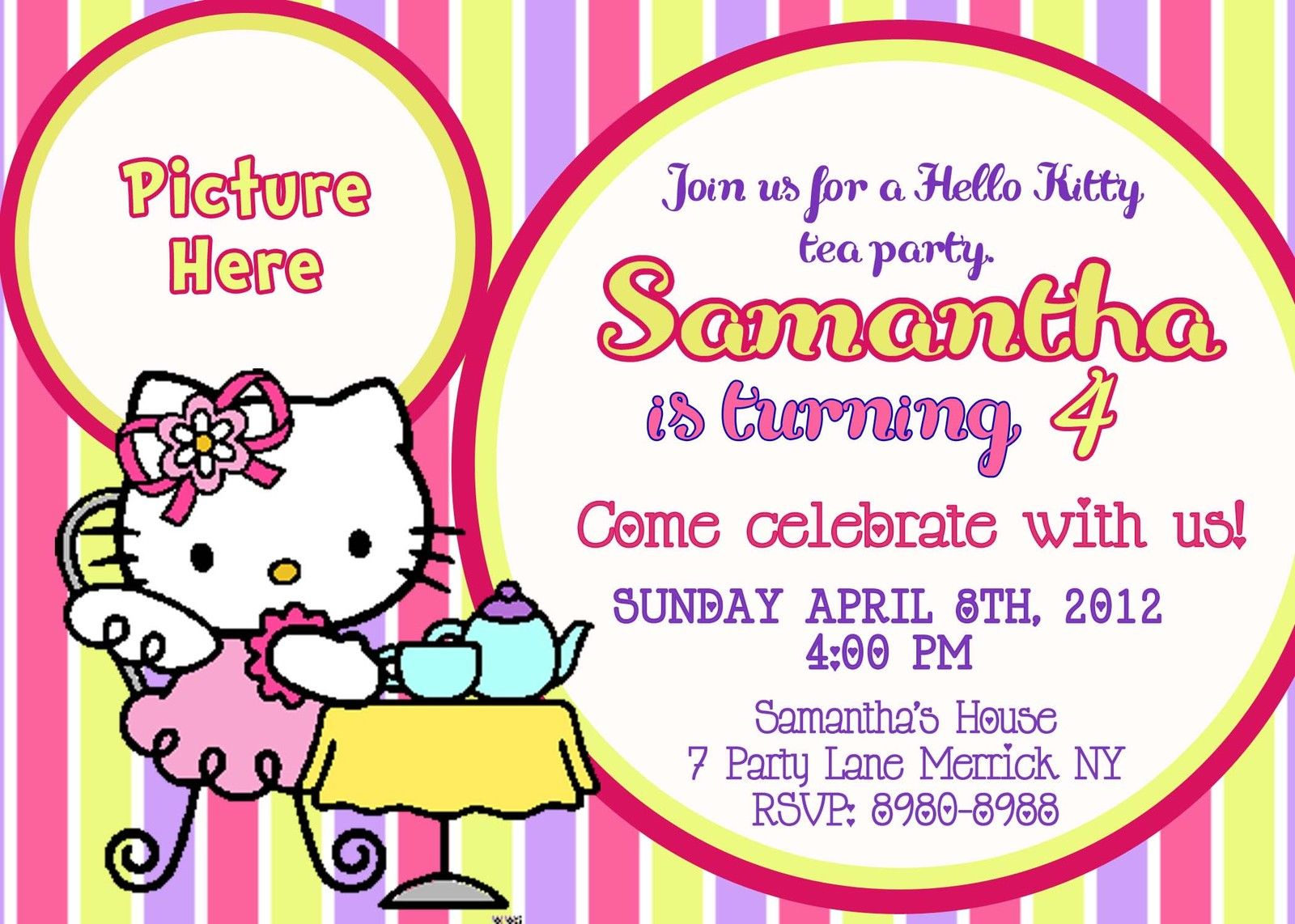 Free printable hello kitty birthday party invitations drevio tea party hello kitty birthday invitations stopboris Gallery