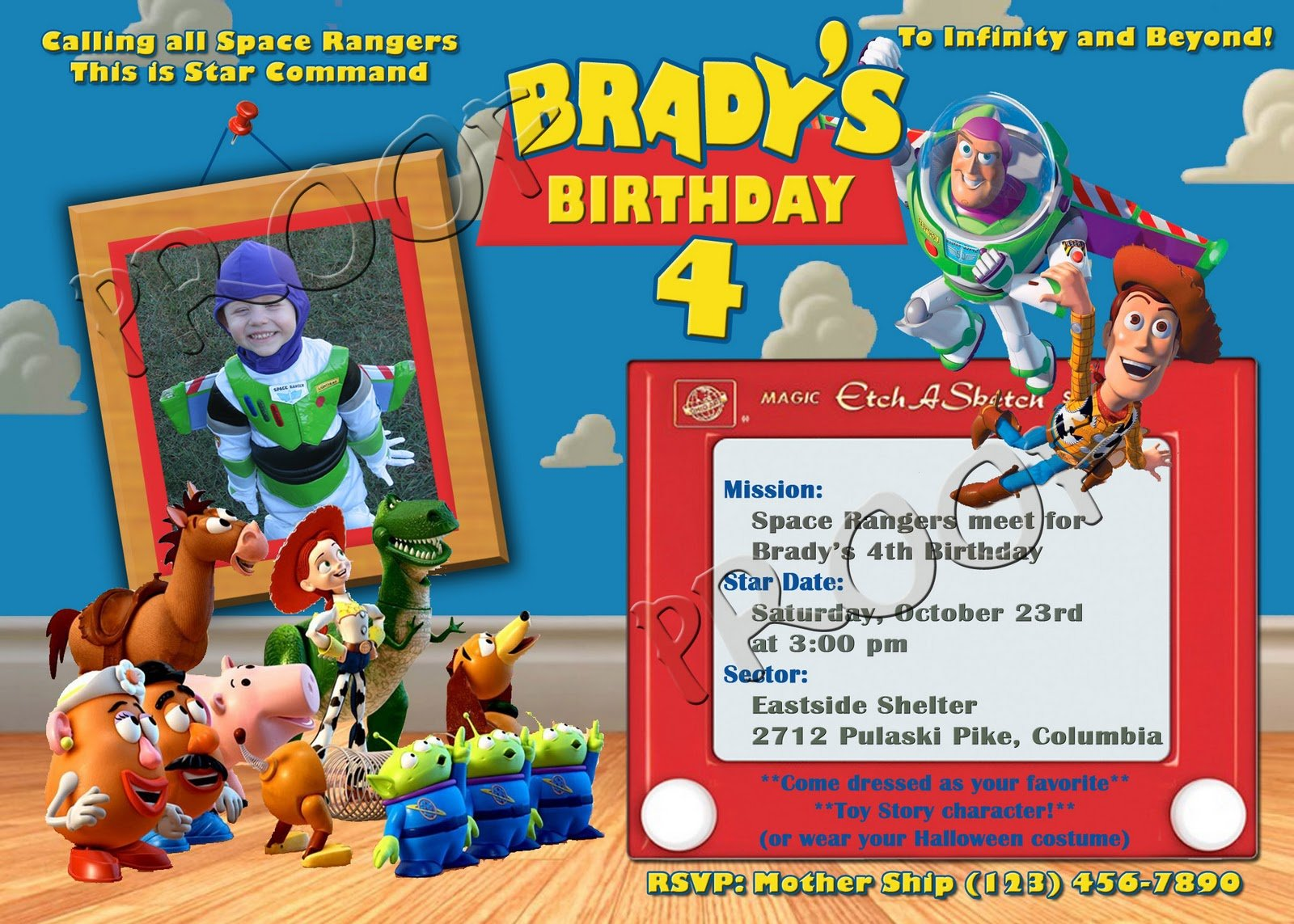 buzz lightyear boy personalized toy story birthday invitations