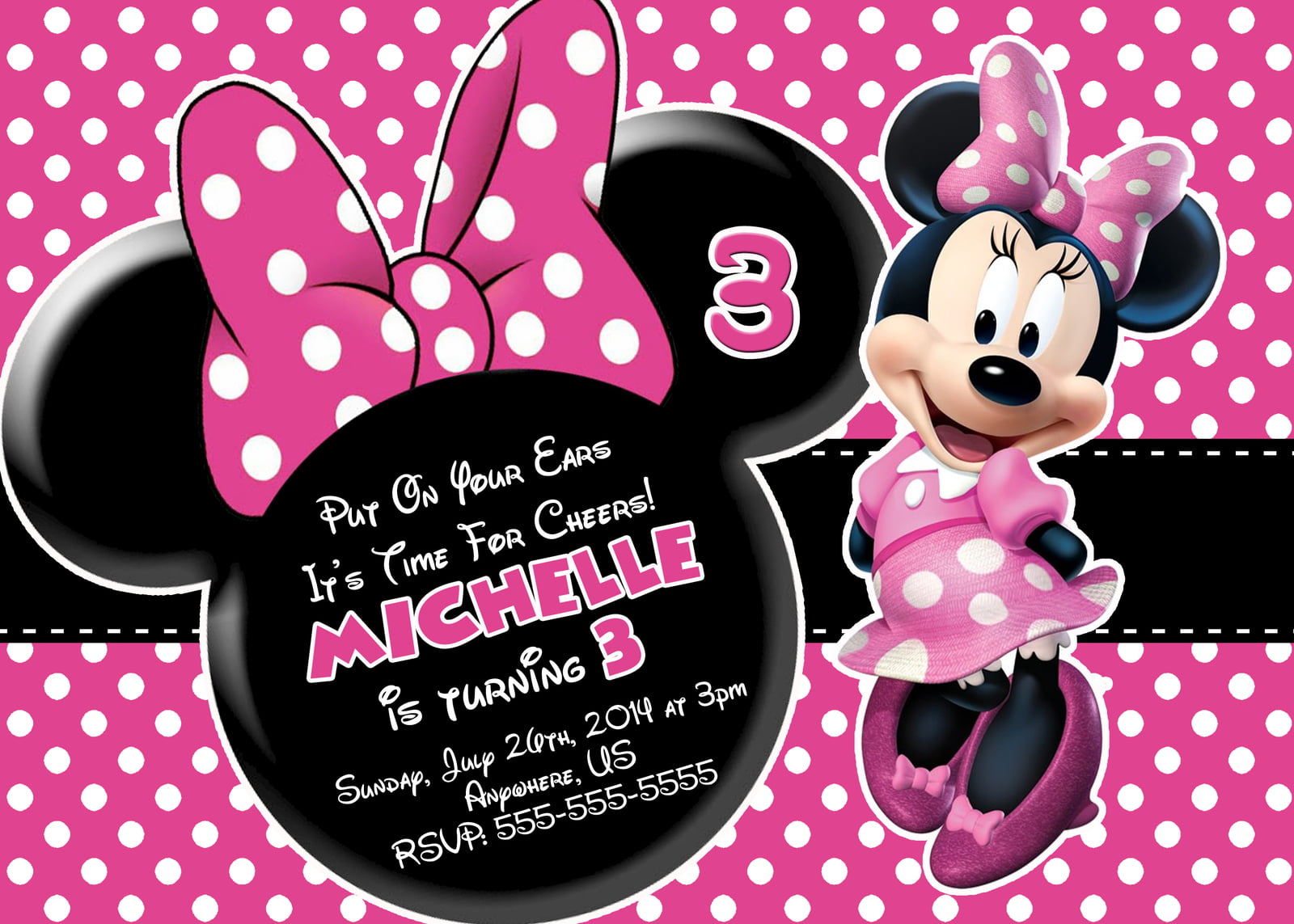 polka dots minnie mouse printable birthday invitations