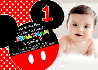 ear mickey mouse invitations 1st birthday