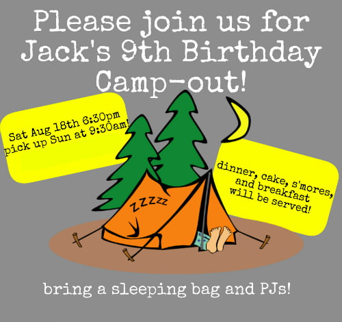 Camp 9 Years Old Birthday Invitations Wording