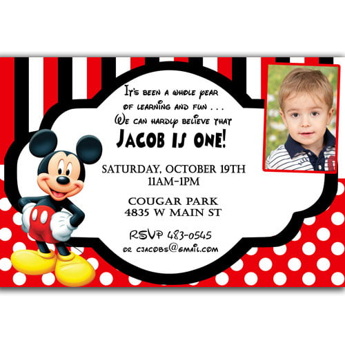 polka dots mickey mouse invitations 1st birthday