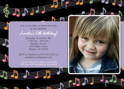 photos music themed birthday party invitations