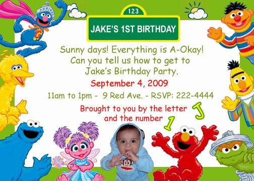 Big Bird Sesame Street Birthday Invitations Personalized