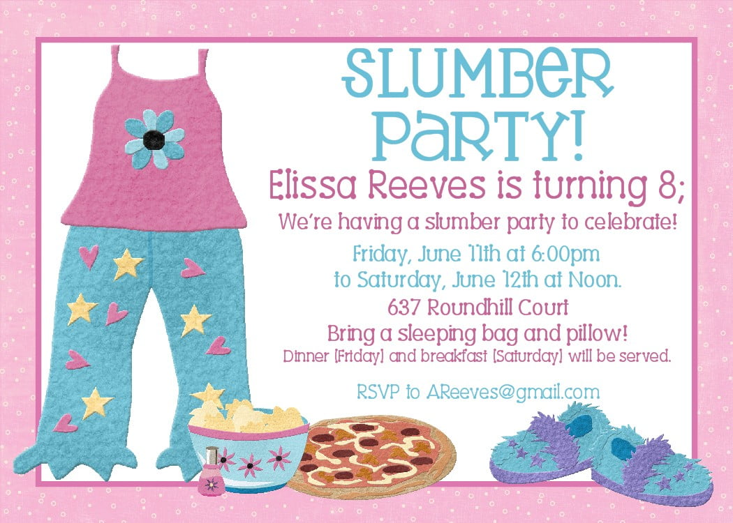 Free Printable Slumber Party Birthday Invitations – Sleepover Party Invitations Templates