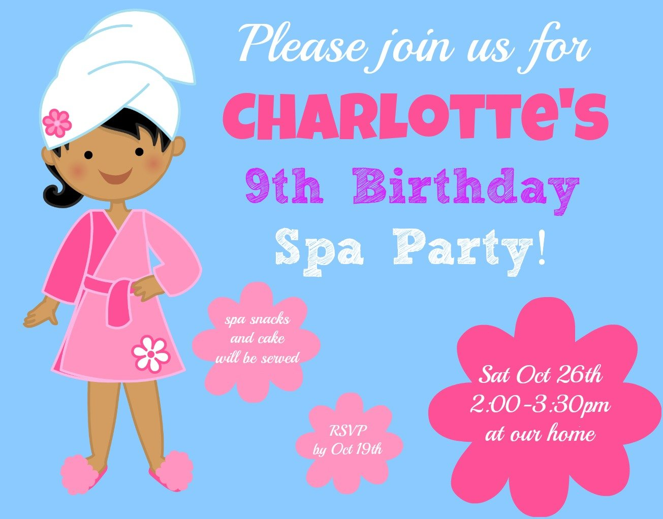 Spa 9 Years Old Birthday Invitations Wording