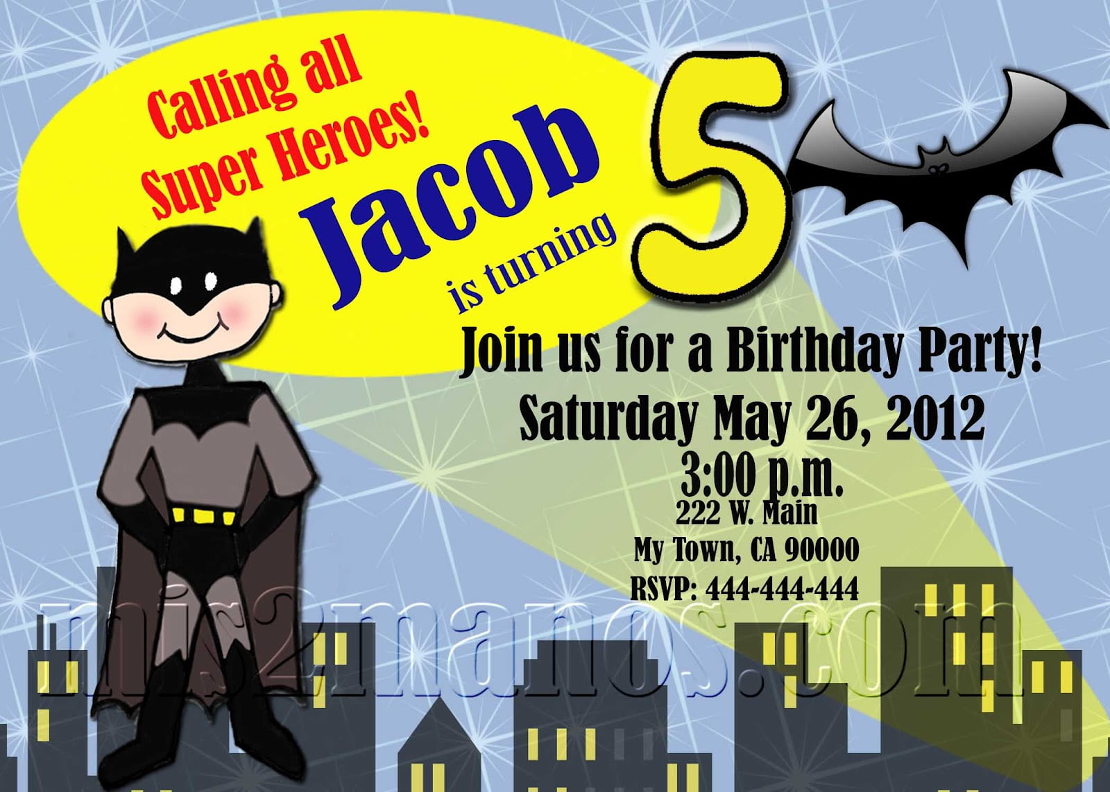 batman print birthday invitations at home
