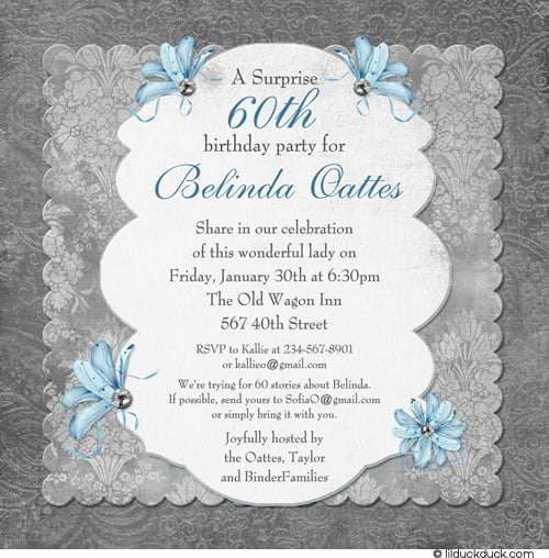 Flowers 60th Surprise Birthday Party Invitations