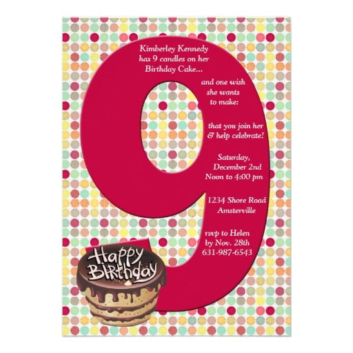 Cakes 9 Years Old Birthday Invitations Wording