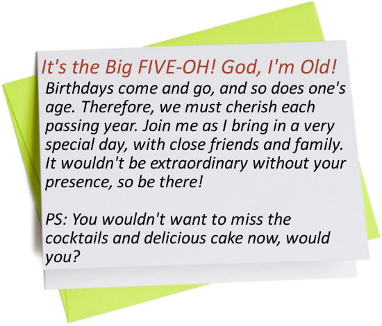 Funny 50th Birthday Invitations Wording Ideas – 50th Birthday Invitation Wording