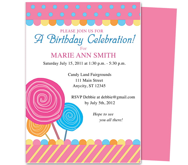 lollypop kids birthday party invitations wording ideas