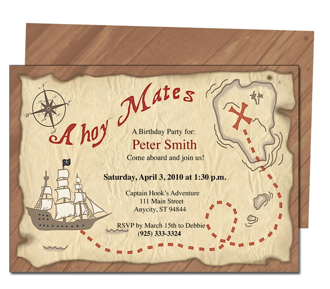 Free Printable Pirates Birthday Party Invitations : Drevio Invitations Design
