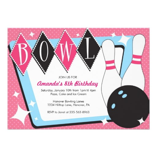 Free Bowling Birthday Party Invitations  Template Downloadable
