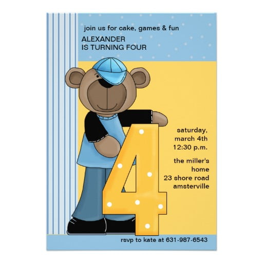 Teddy Bear 4 Years Old Birthday Invitations Wording
