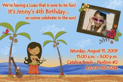 Hawaian Beach Themed Birthday Party Invitations