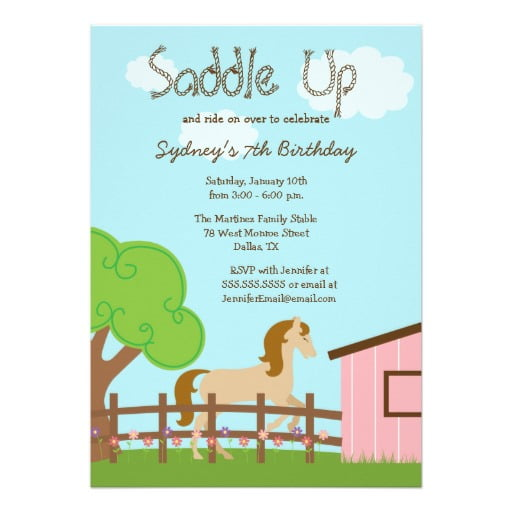 saddle free printable horse birthday party invitations