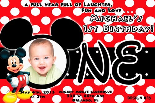 red mickey mouse invitations 1st birthday