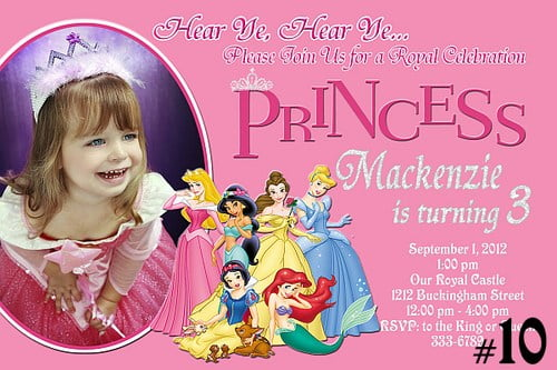 Crown Personalized Disney Princess Birthday Party Invitations