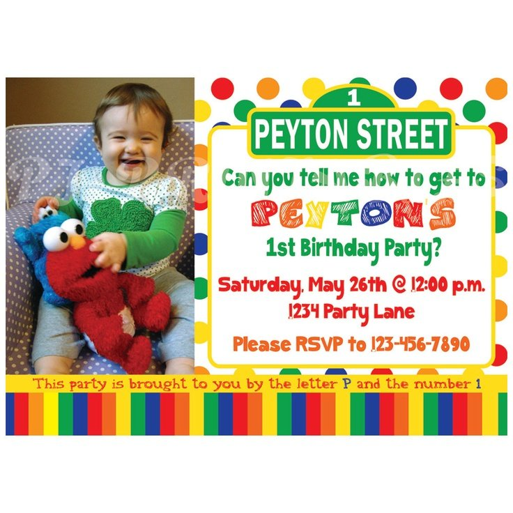 baby custom sesame street birthday invitations