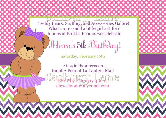 Free printable build a bear birthday invitations drevio build a bear birthday invitations pink card filmwisefo