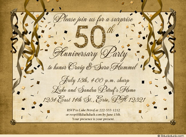 Gold 50th Birthday Party Invitations Ideas