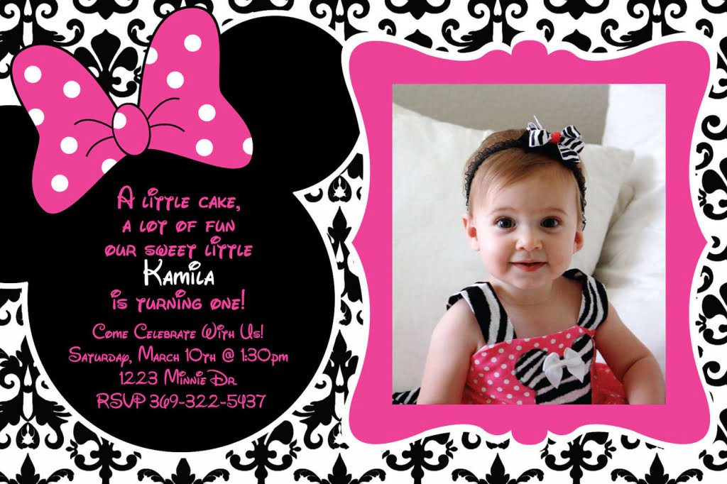 baby minnie mouse printable birthday invitations
