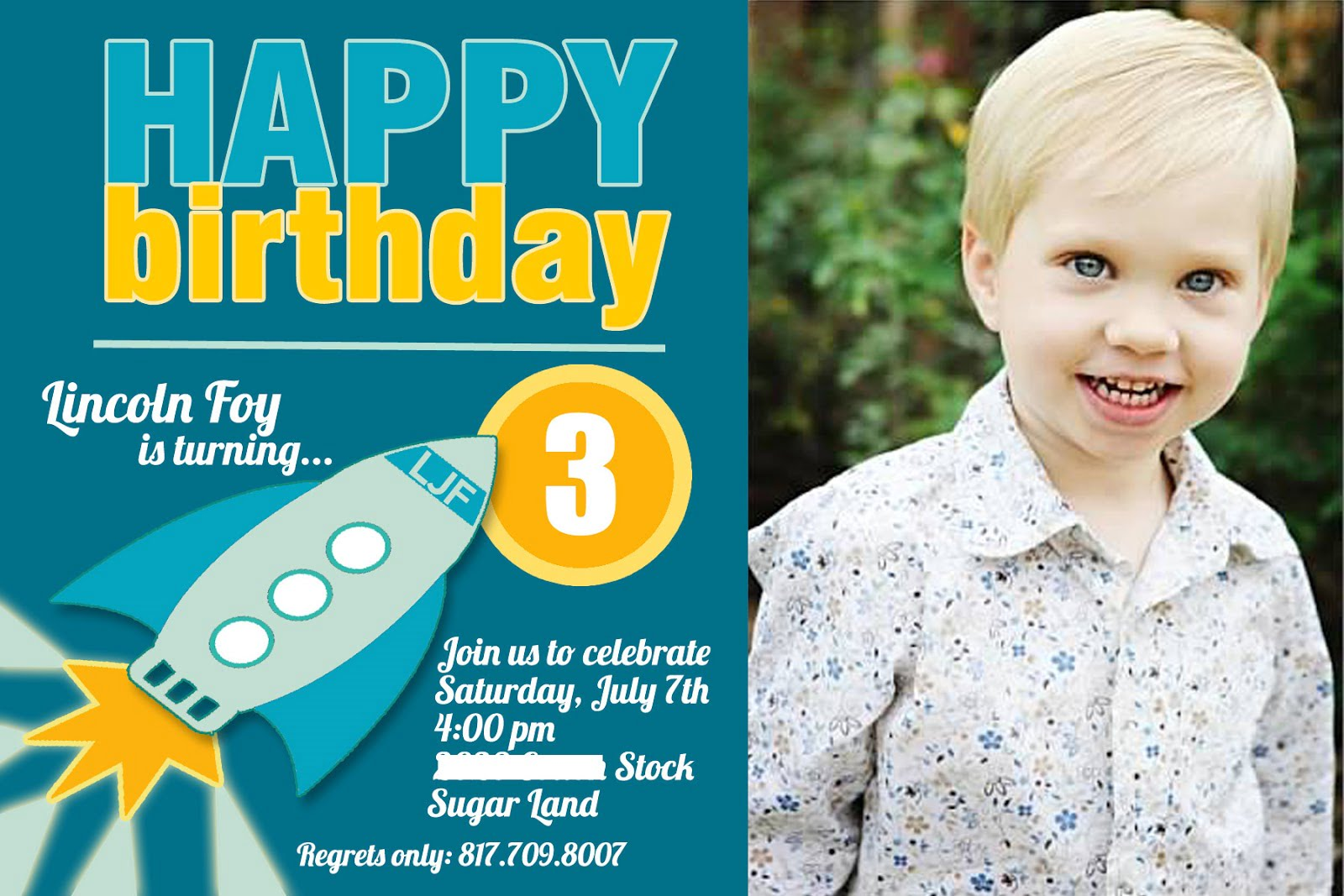3 Years Old Birthday Invitations Wording | Drevio Invitations Design