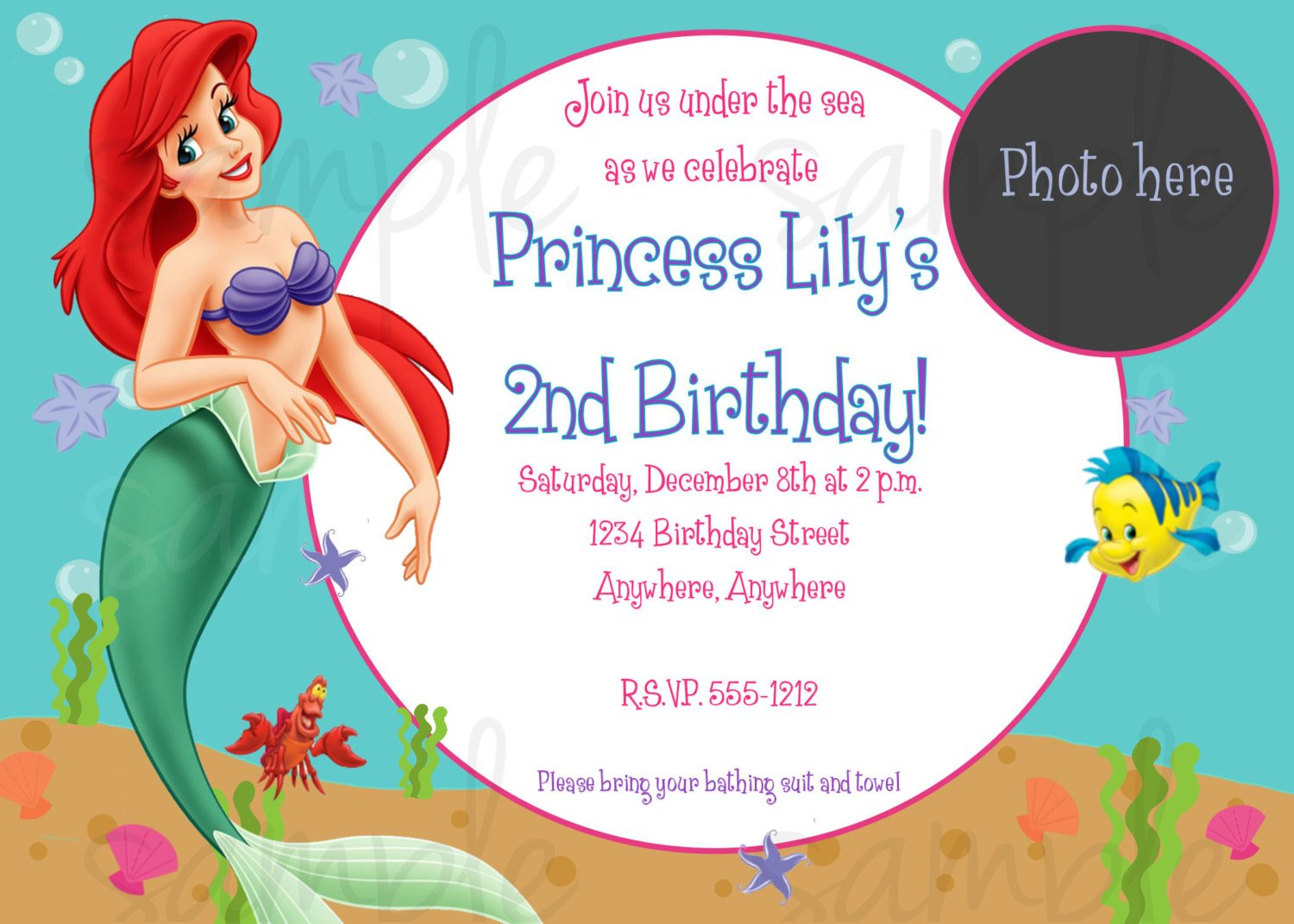 FREE Printable Little Mermaid Printable Birthday Invitations | Drevio Invitations Design