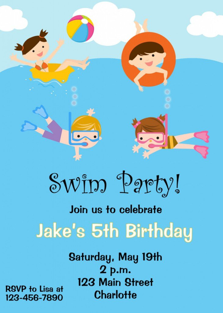 Free Printable Birthday Pool Party Invitations Drevio Invitations Design
