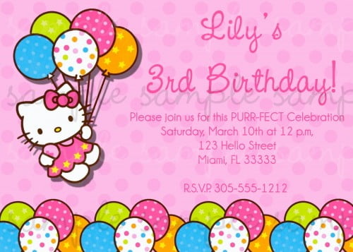 Hello Kitty Birthday Invitations Free Invitation Template Drevio - Free hello kitty birthday invitation templates