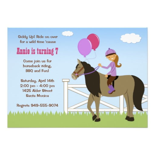 riding free printable horse birthday party invitations