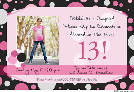 girl 13 years old birthday party invitations