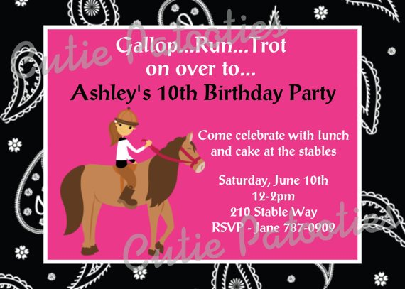pink free printable horse birthday party invitations