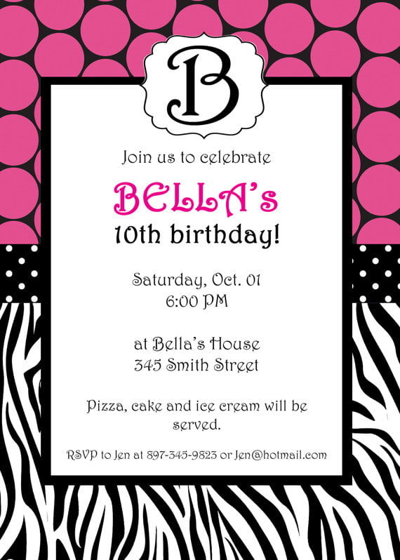 free printable zebra print birthday invitations | drevio, Birthday invitations