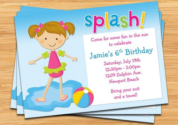 pools kids birthday party invitations wording ideas