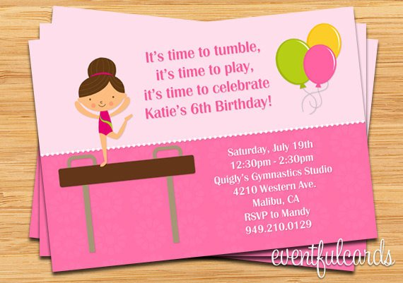 Free Printable Gymnastic Birthday Invitations – Gymnastics Party Invitation