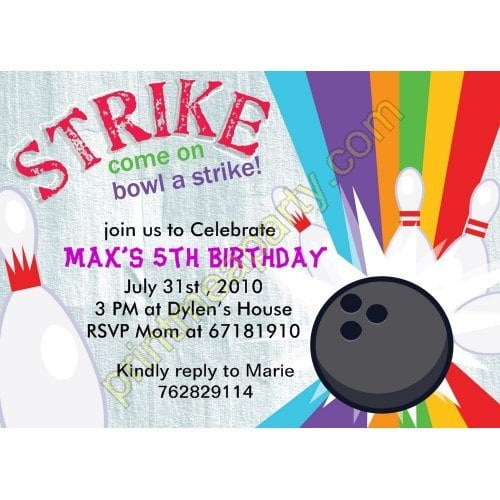 free printable bowling birthday invitations | drevio invitations, Party invitations