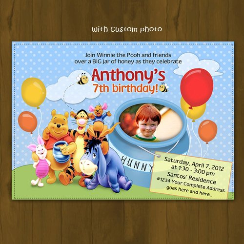 honey winnie the pooh photo birthday invitations