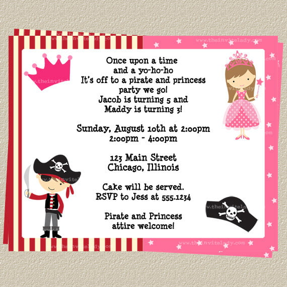 FREE Printable Princess and Pirate Birthday Party Invitations – Princess and Pirates Party Invitations